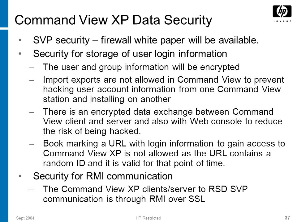 Command View XP Data Security