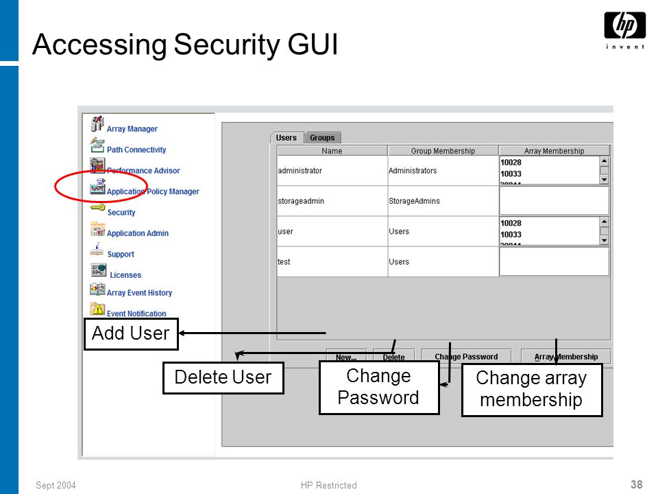 Accessing Security GUI