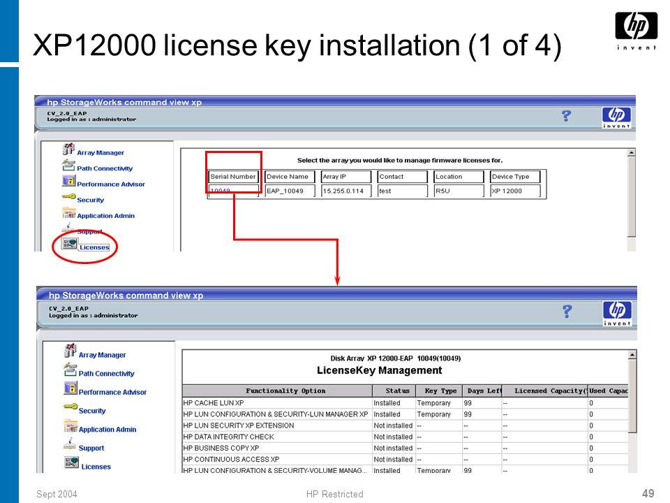 XP12000 license key installation (1 of 4)