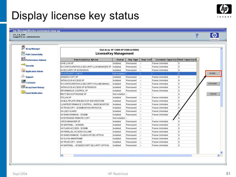 Display license key status