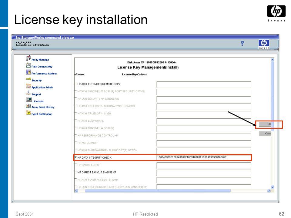 License key installation