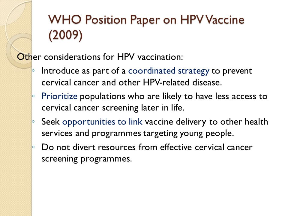 WHO Position Paper on HPV Vaccine (2009)