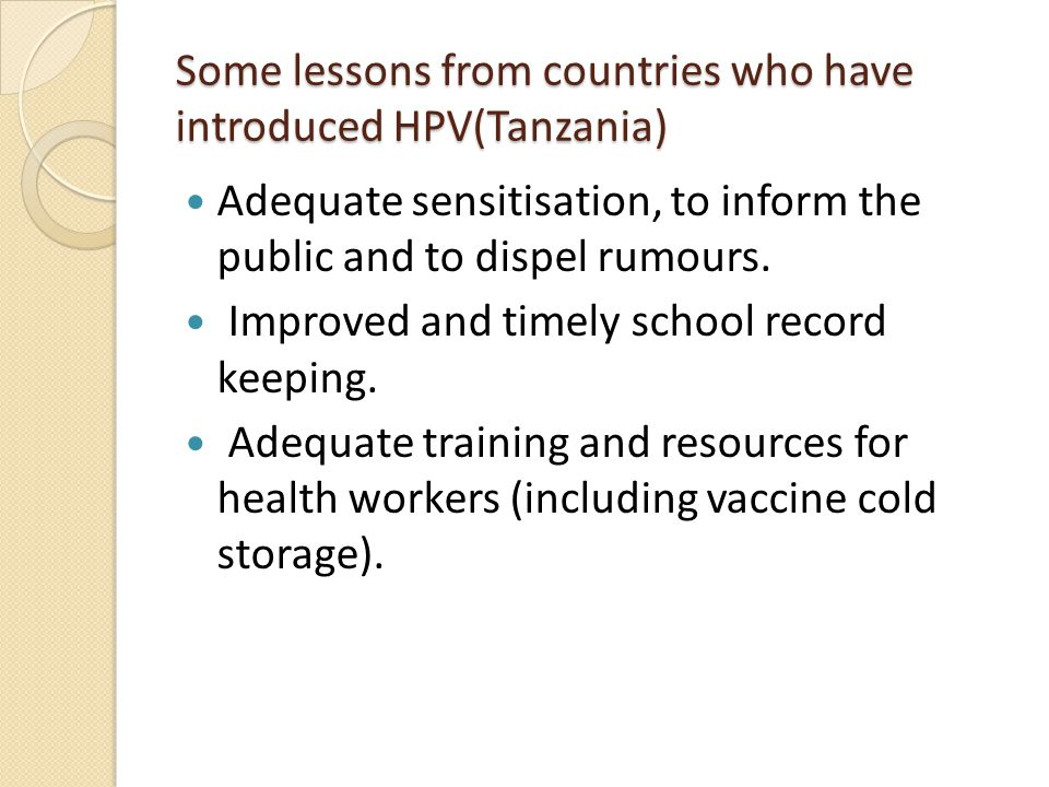 Some lessons from countries who have introduced HPV(Tanzania)