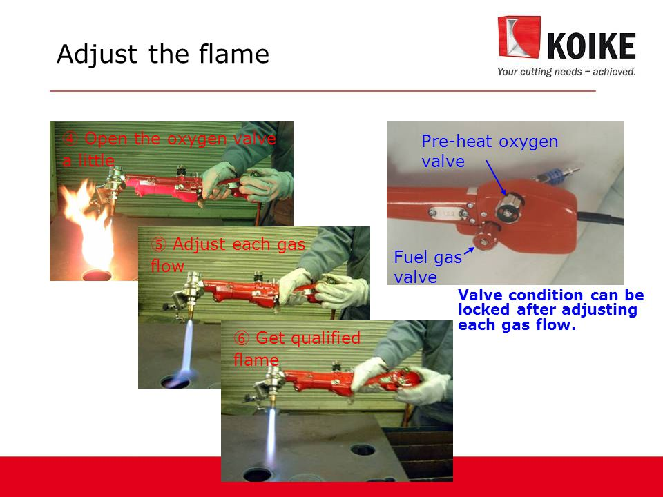 Adjust the flame ④ Open the oxygen valve a little