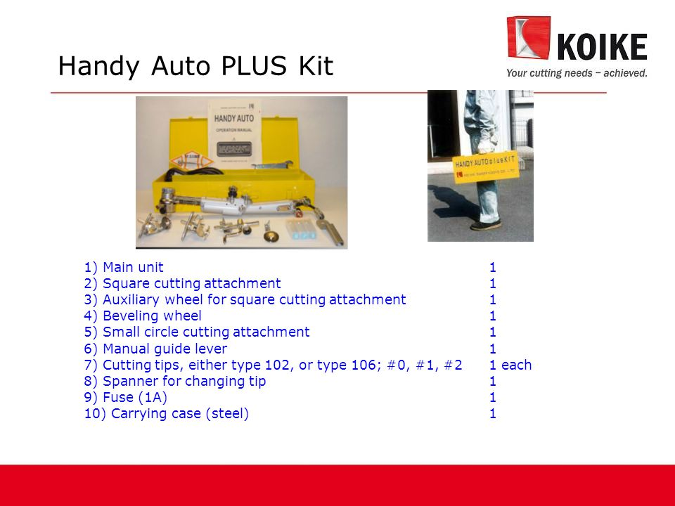 Handy Auto PLUS Kit 1) Main unit 1 2) Square cutting attachment 1