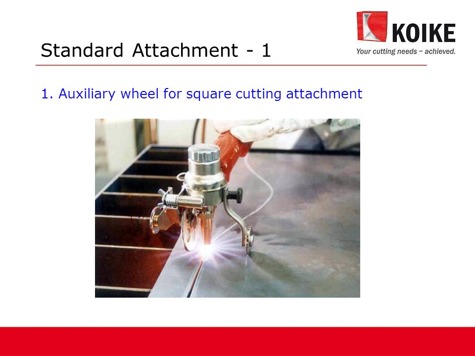 Standard Attachment - 1 1. Auxiliary wheel for square cutting attachment