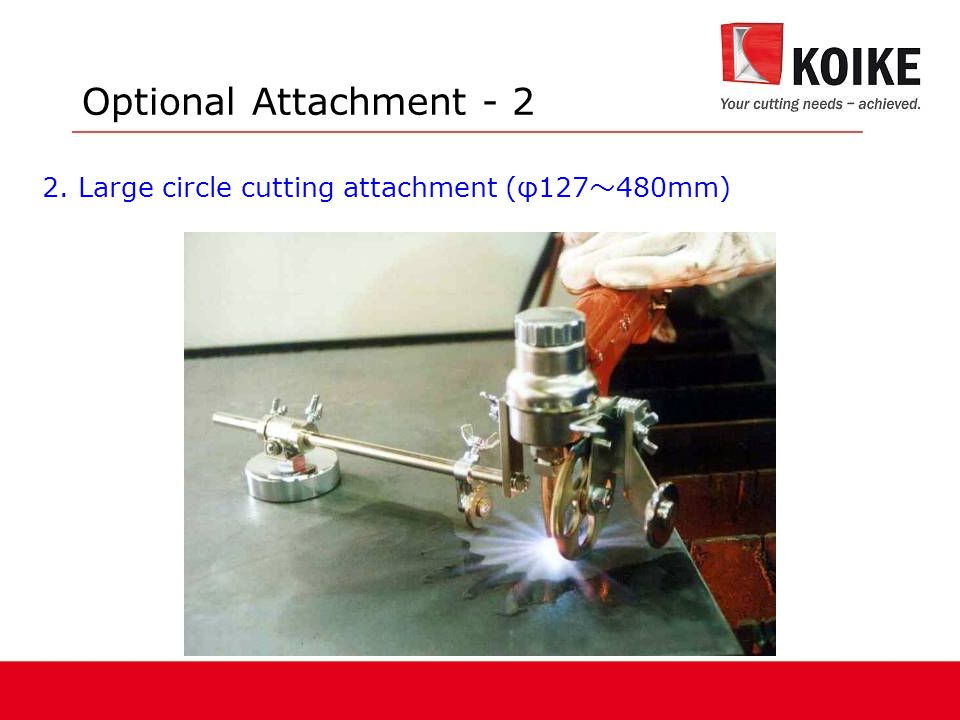 Optional Attachment - 2 2. Large circle cutting attachment (φ127~480mm)