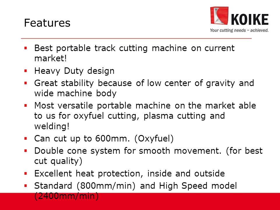 Features Best portable track cutting machine on current market!