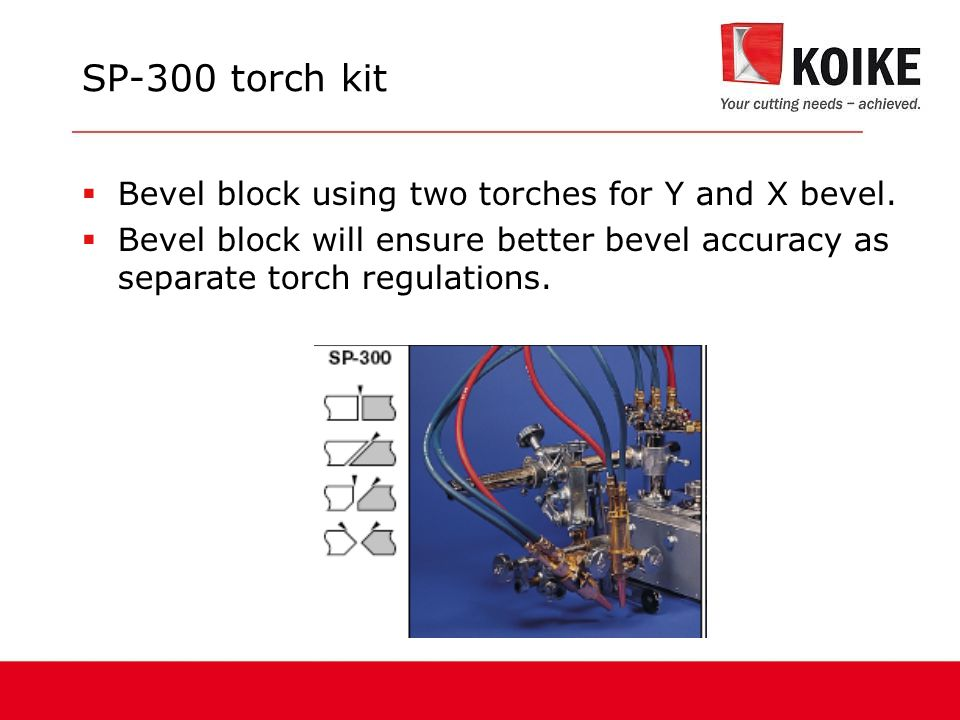 SP-300 torch kit Bevel block using two torches for Y and X bevel.