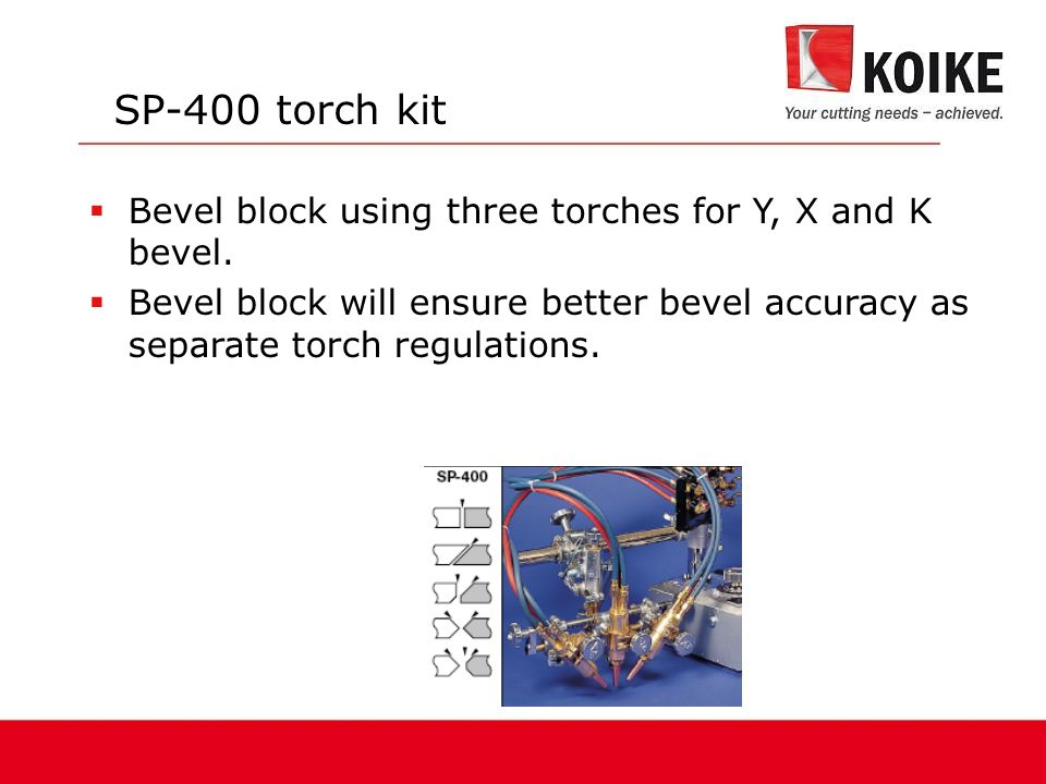 SP-400 torch kit Bevel block using three torches for Y, X and K bevel.