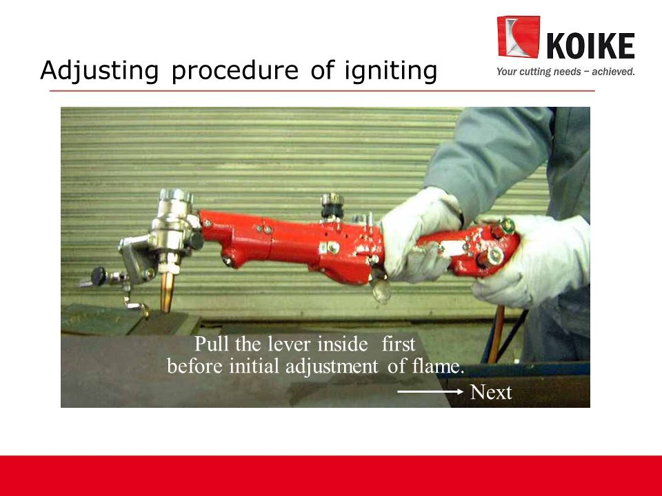 Adjusting procedure of igniting