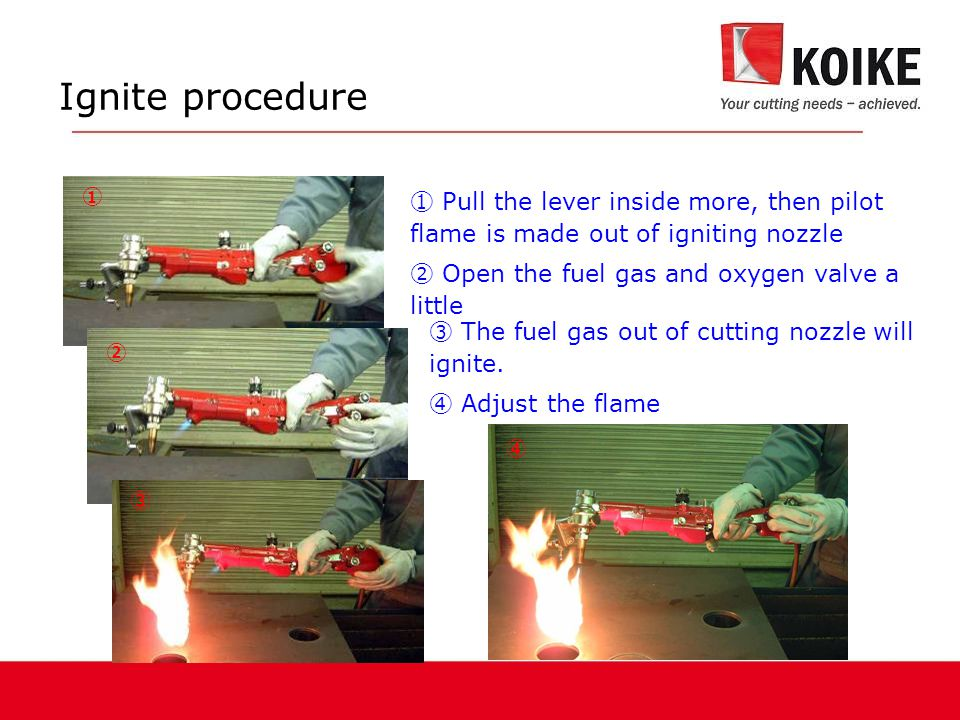 Ignite procedure ①. ① Pull the lever inside more, then pilot flame is made out of igniting nozzle.