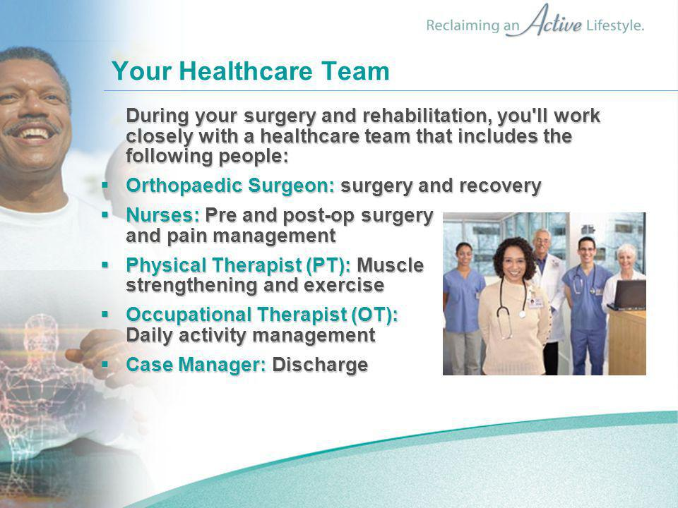 Your Healthcare Team Orthopaedic Surgeon: surgery and recovery