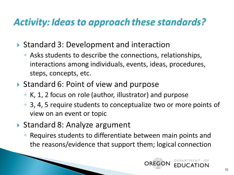 Activity: Ideas to approach these standards