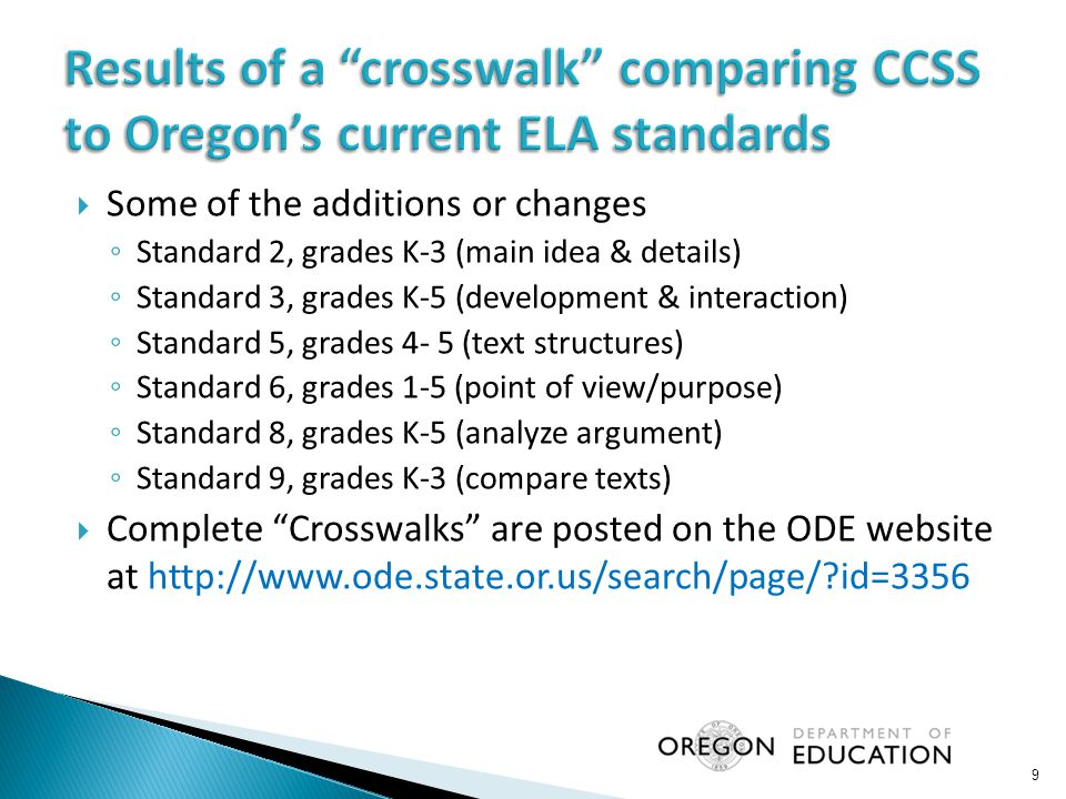 Results of a crosswalk comparing CCSS to Oregon's current ELA standards