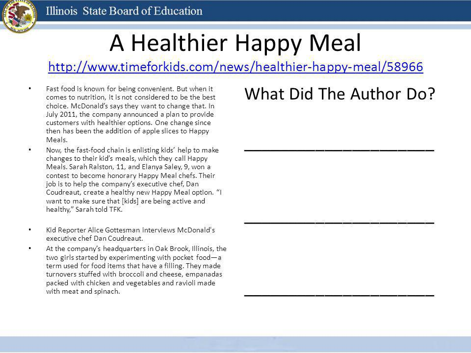 A Healthier Happy Meal http://www. timeforkids