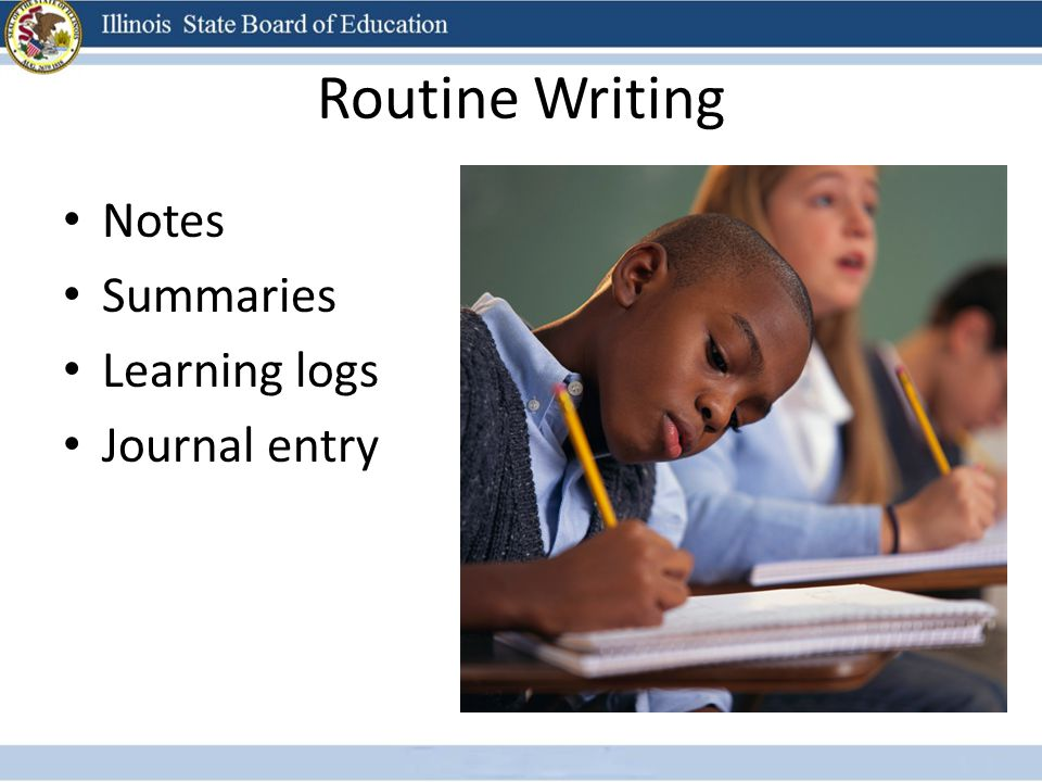 Routine Writing Notes Summaries Learning logs Journal entry