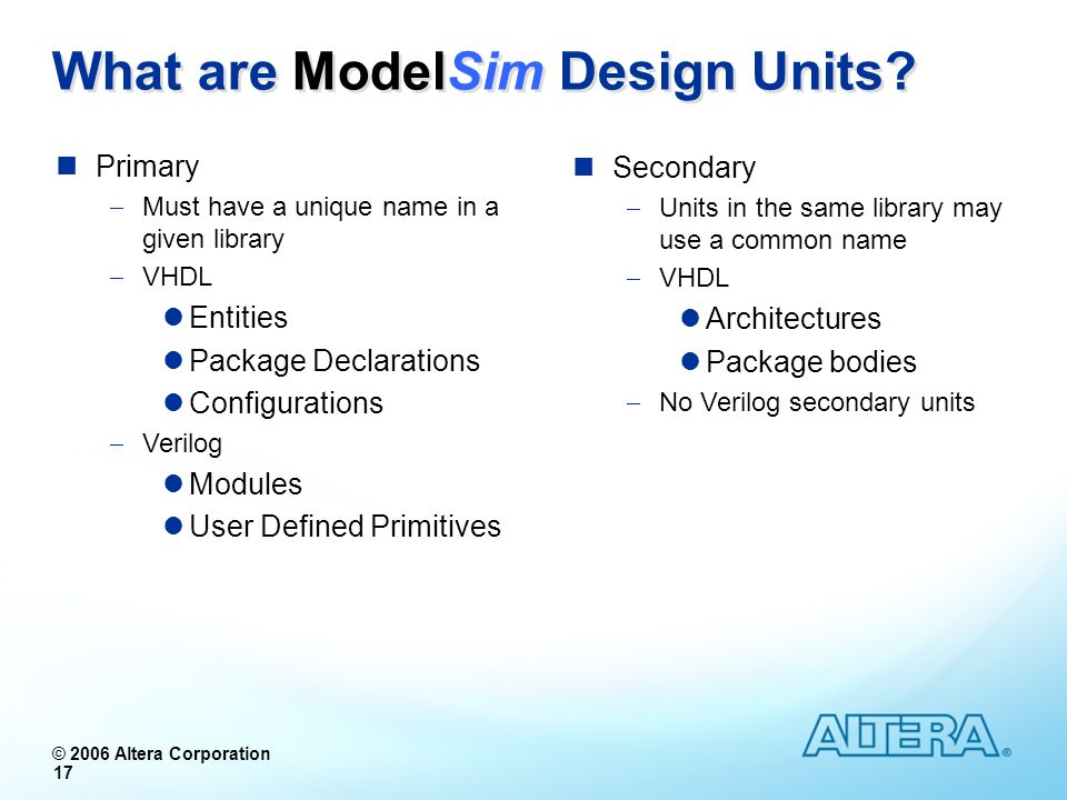 What are ModelSim Design Units