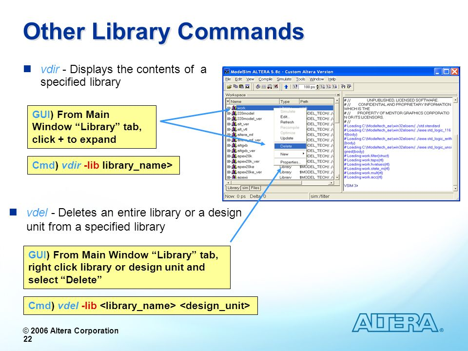 Other Library Commands