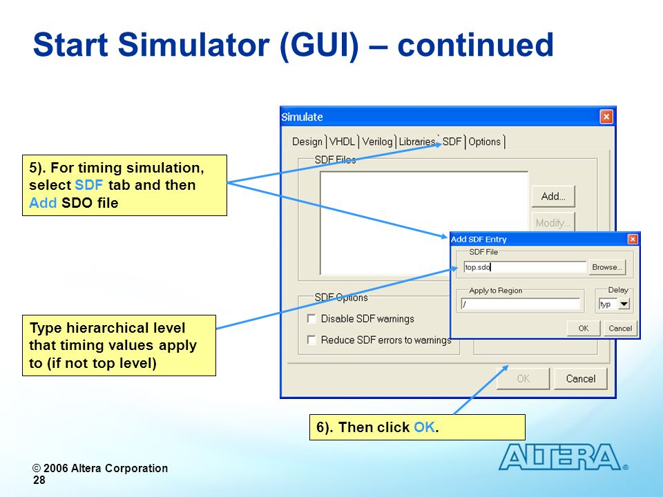 Start Simulator (GUI) – continued
