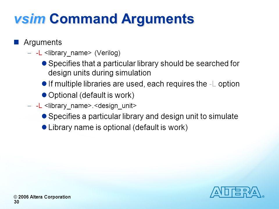 vsim Command Arguments