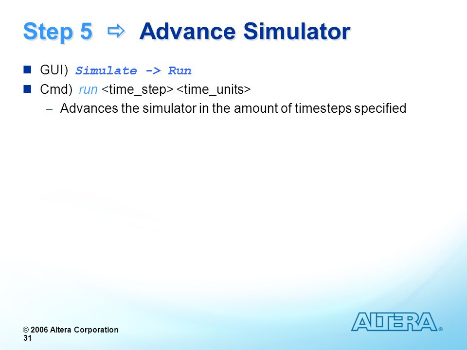 Step 5  Advance Simulator