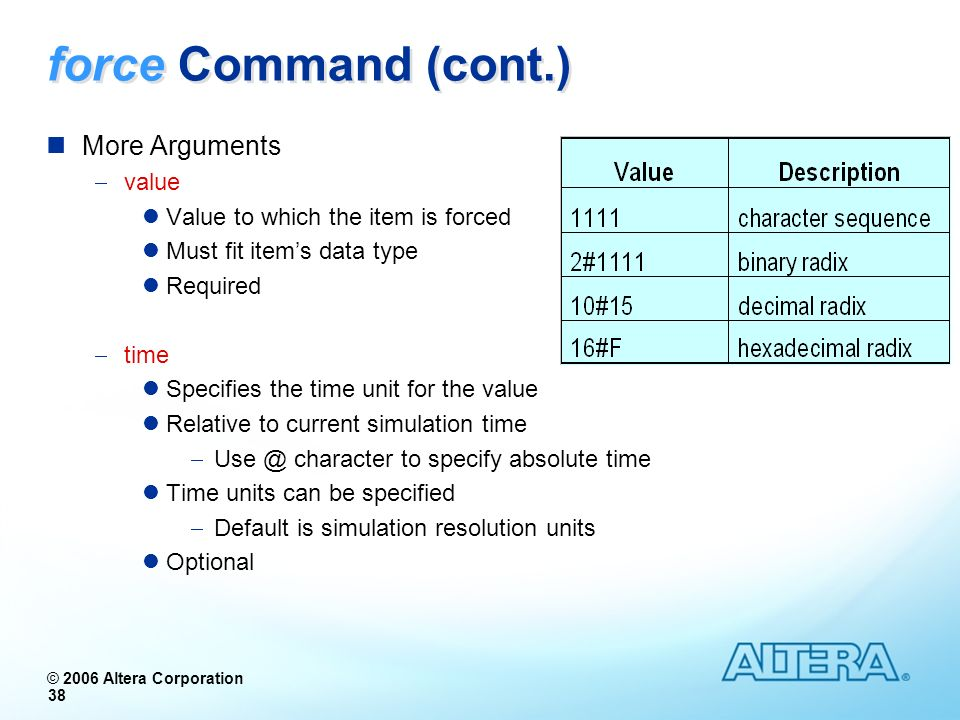 force Command (cont.) More Arguments value