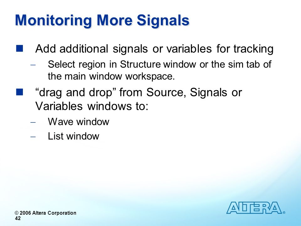 Monitoring More Signals