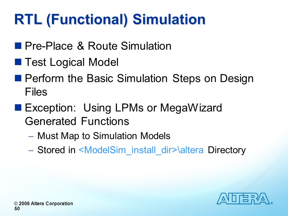 RTL (Functional) Simulation