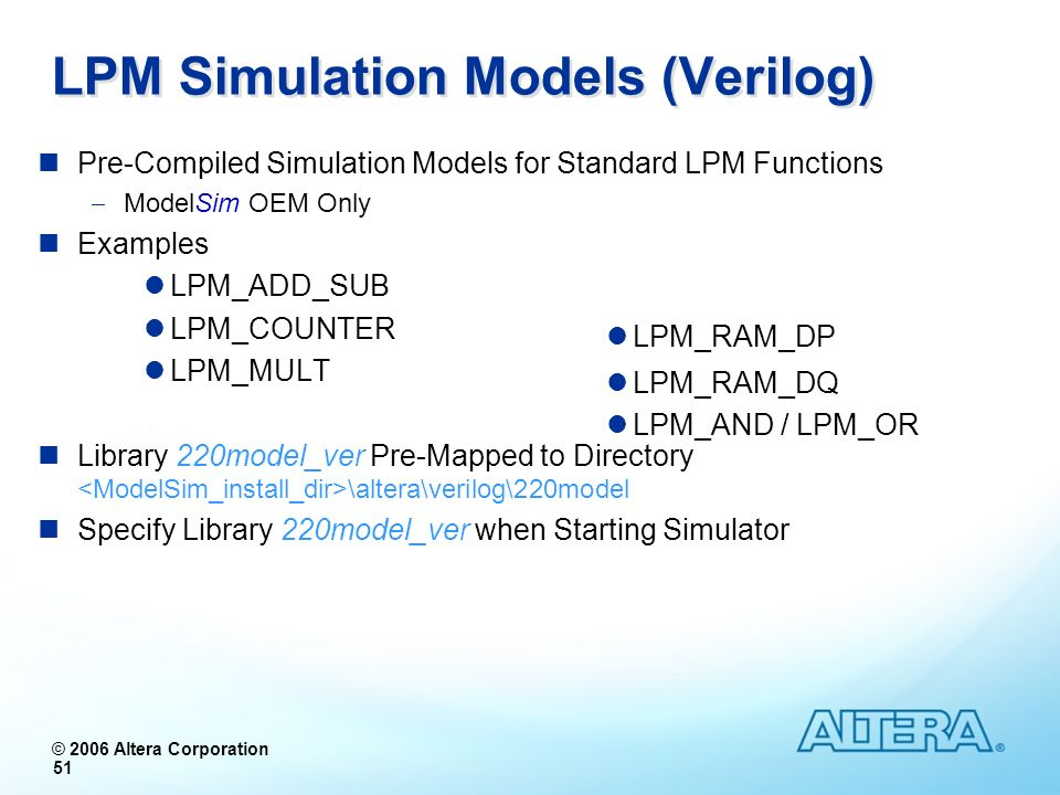 LPM Simulation Models (Verilog)