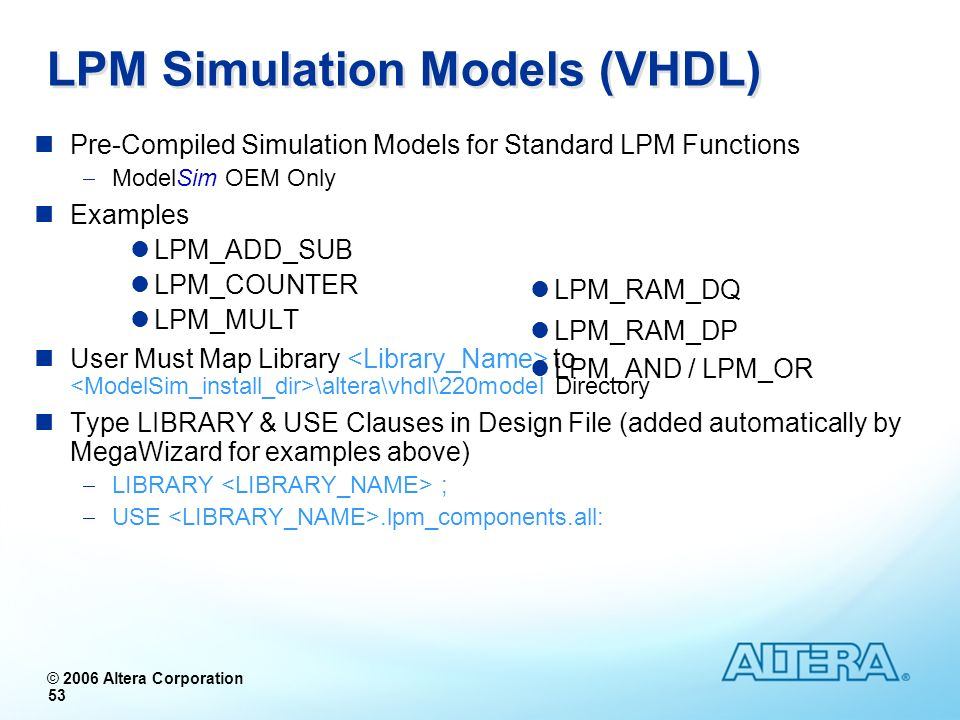 LPM Simulation Models (VHDL)