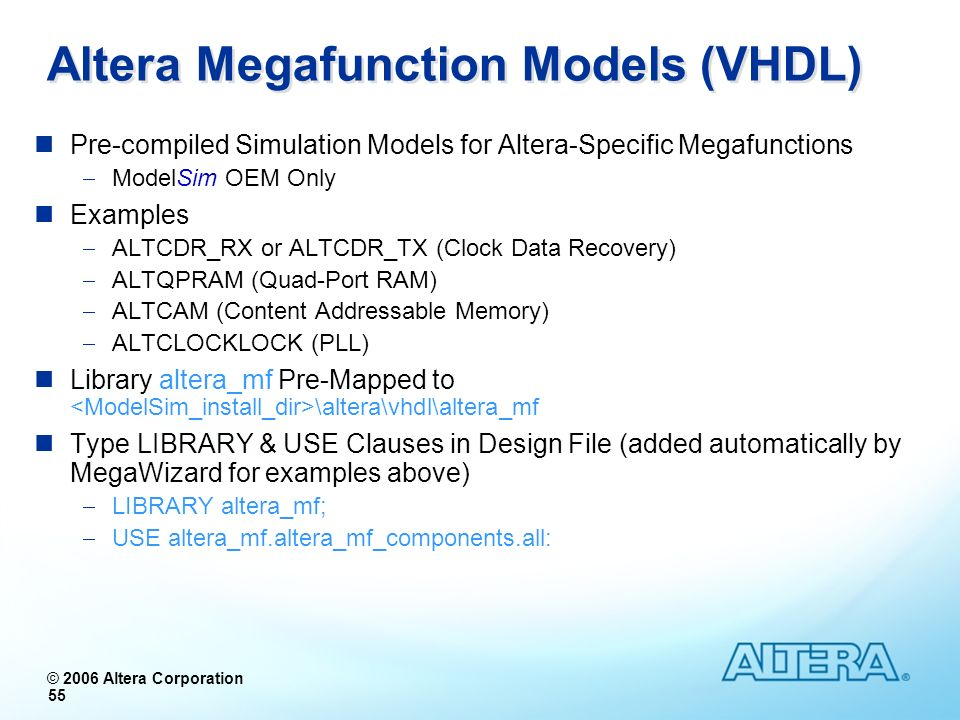 Altera Megafunction Models (VHDL)