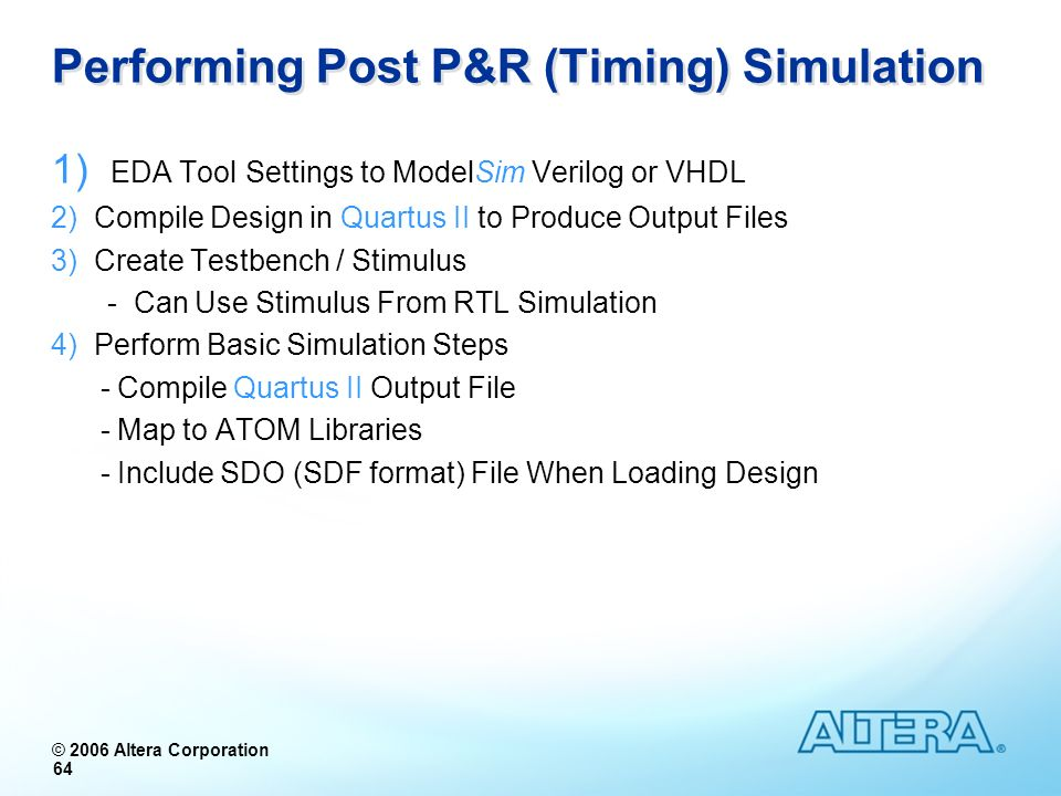 Performing Post P&R (Timing) Simulation
