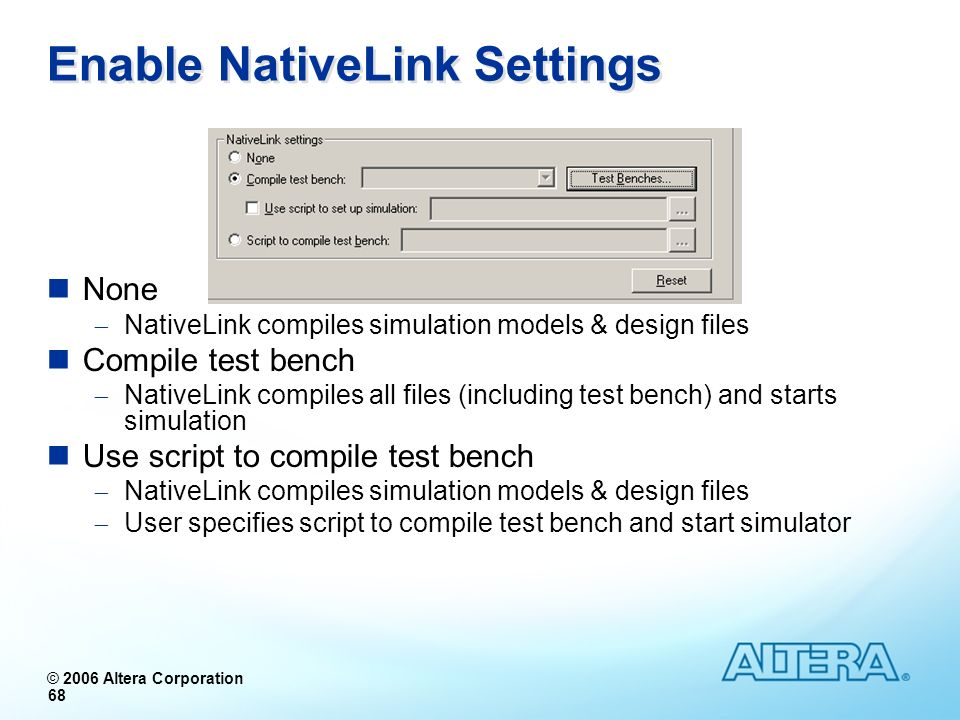 Enable NativeLink Settings