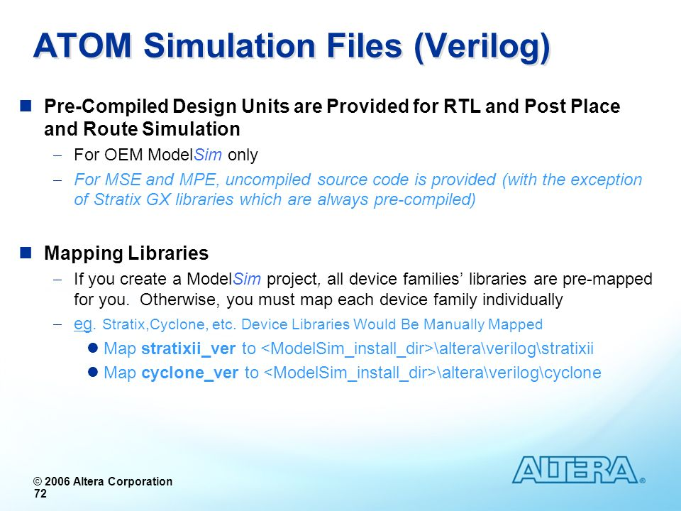 ATOM Simulation Files (Verilog)