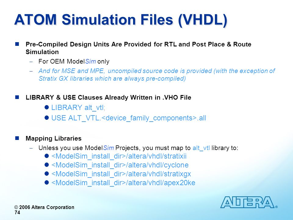 ATOM Simulation Files (VHDL)
