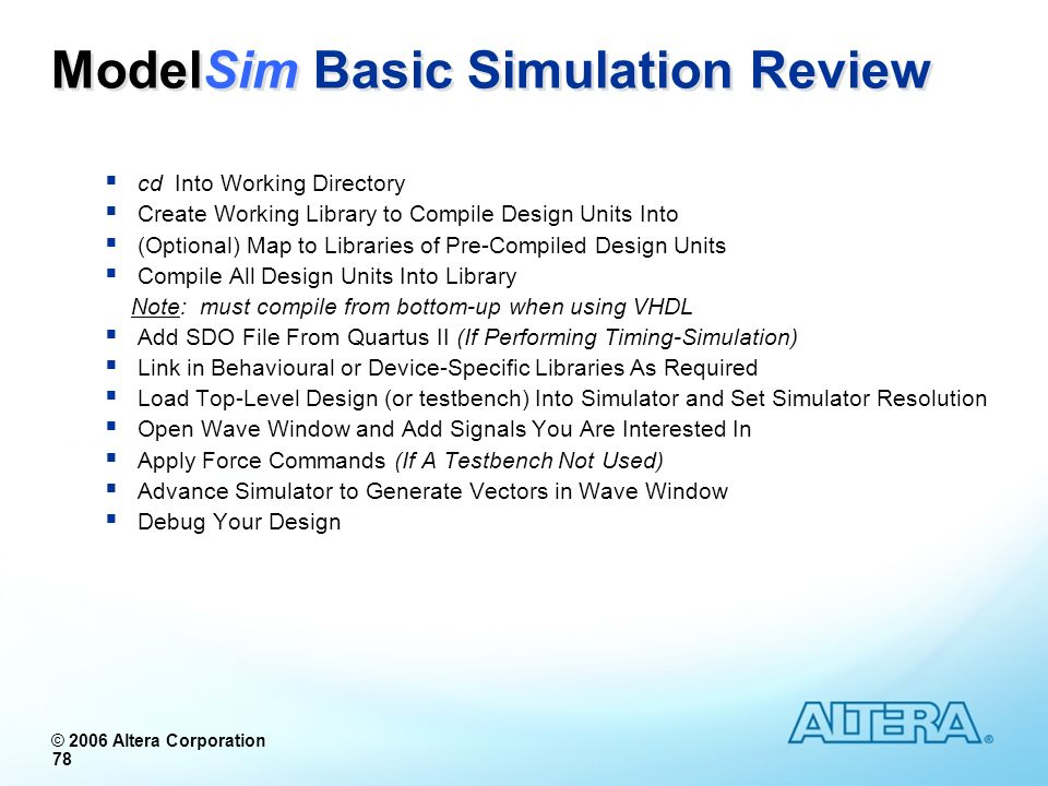 ModelSim Basic Simulation Review