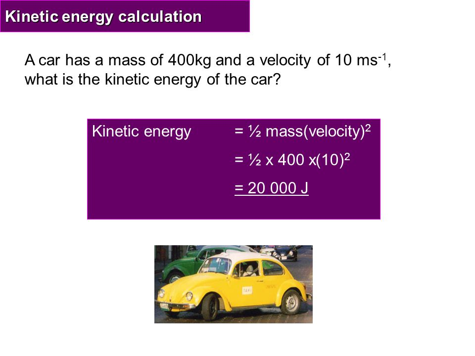 Kinetic energy calculation