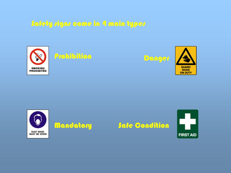 Safety signs come in 4 main types