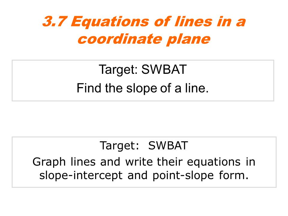 3.7 Equations of lines in a coordinate plane