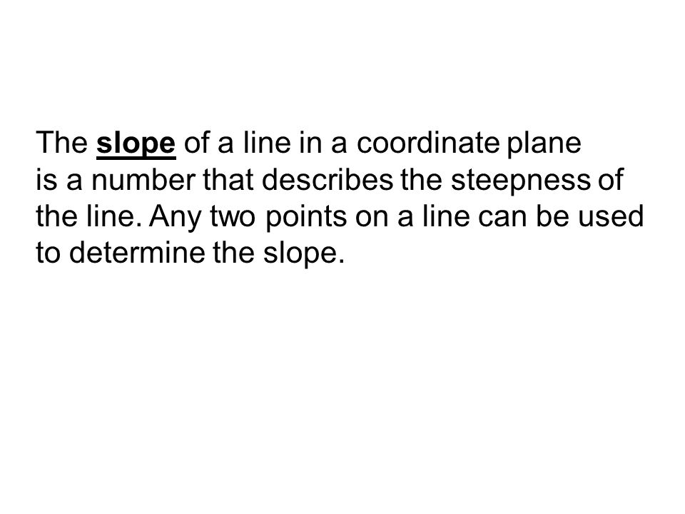 The slope of a line in a coordinate plane