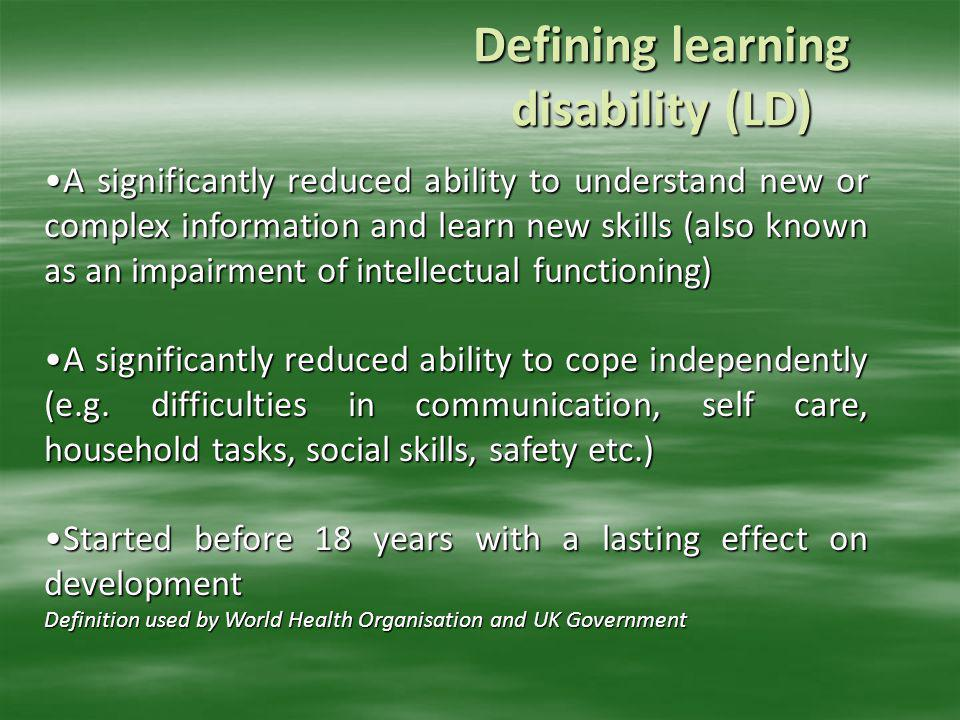 Defining learning disability (LD)