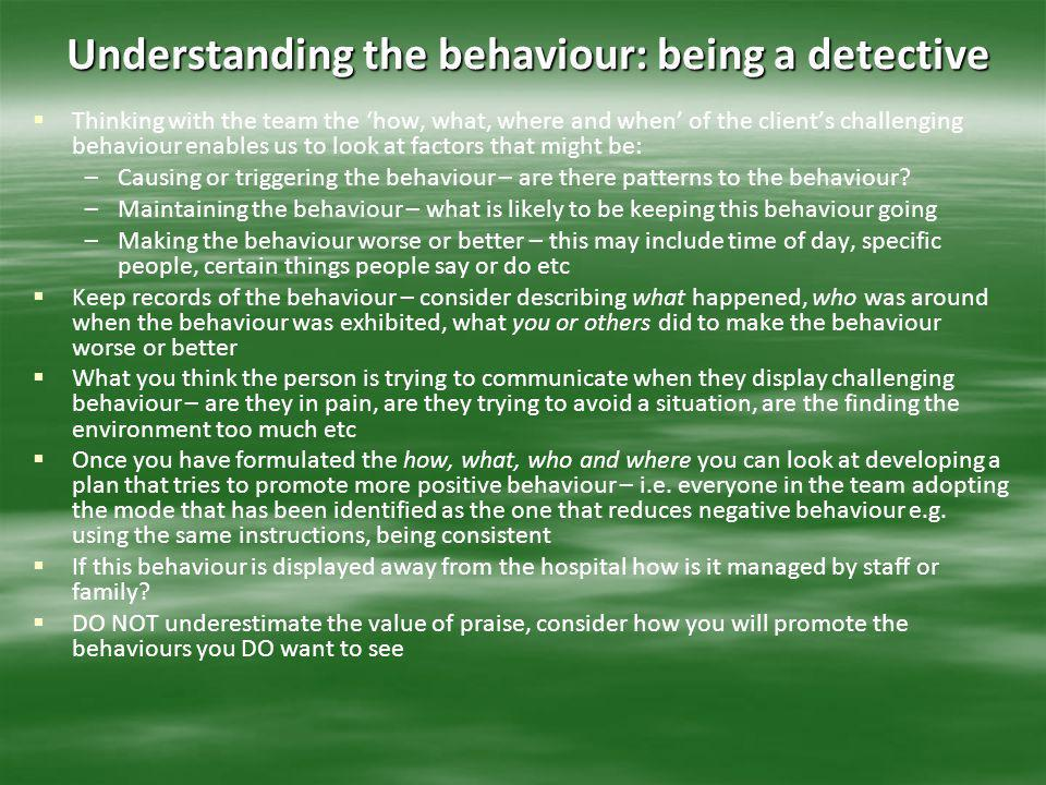 Understanding the behaviour: being a detective