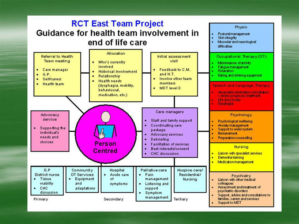 From this information we created a structure of the process involved in the management of an individual with a terminal illness.