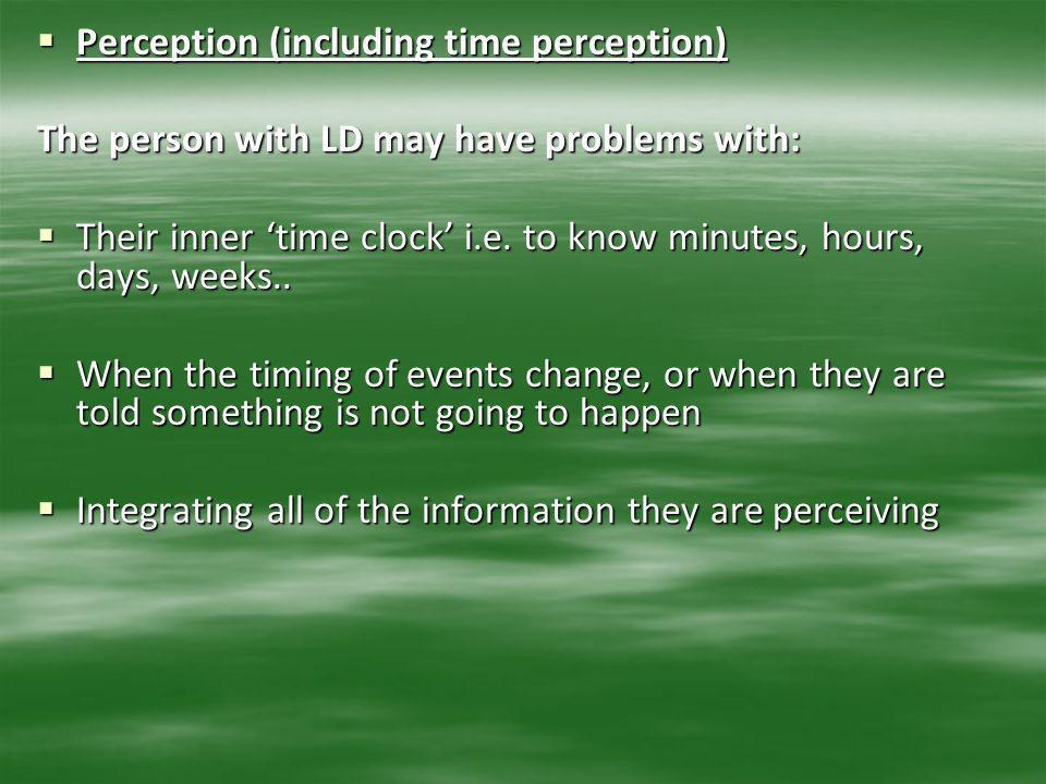 Perception (including time perception)