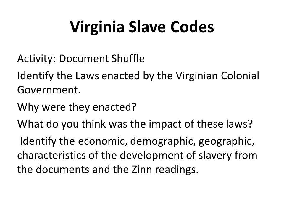 Virginia Slave Codes
