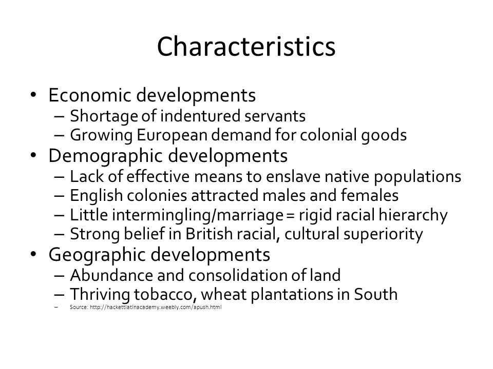 Characteristics Economic developments Demographic developments