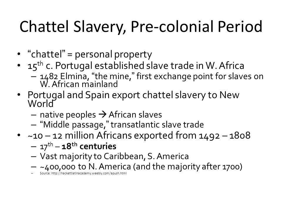 Chattel Slavery, Pre-colonial Period