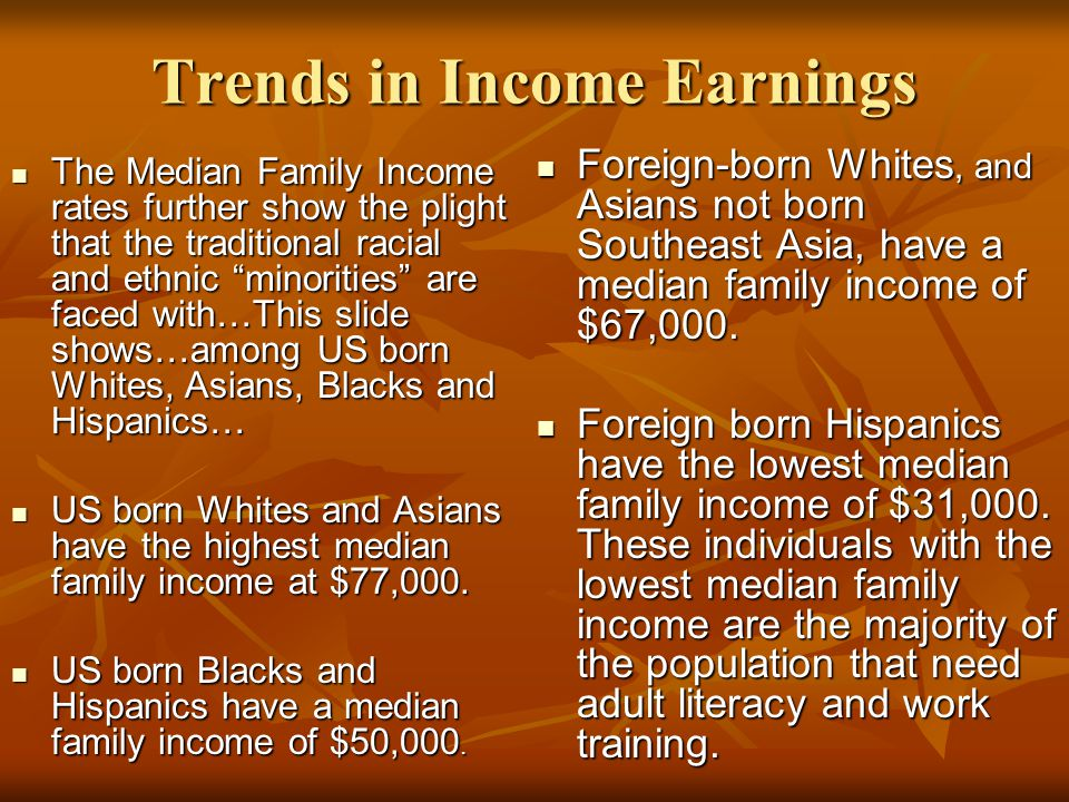 Trends in Income Earnings