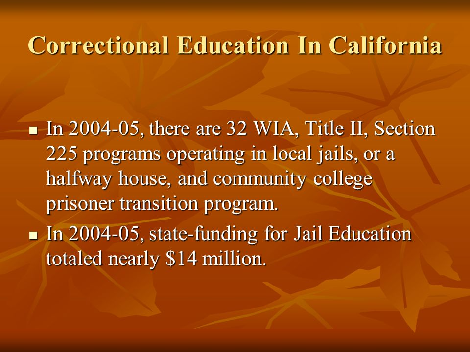 Correctional Education In California